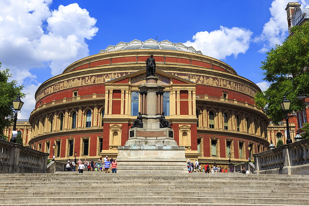Royal Albert Hall exterior with Prince Albert statue, summer, South Kensington, London, England, United Kingdom, Europe