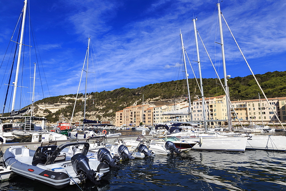 Yachts in the marina, Bonifacio, Corsica, France, Mediterranean, Europe