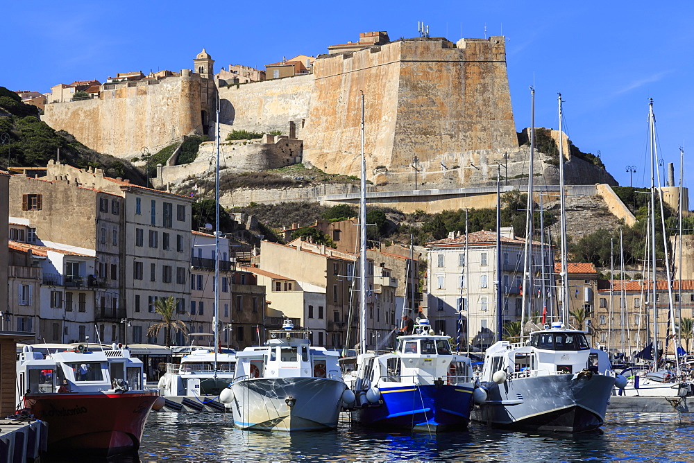 Old citadel view with yachts in the marina, Bonifacio, Corsica, France, Mediterranean, Europe