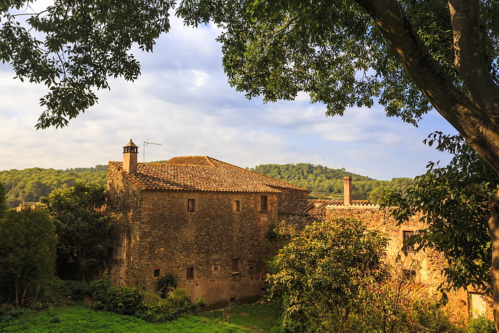 Gala Dali Castle Museum, rural view from medieval home and now museum of Salvador Dali, Pubol, Baix Emporda, Girona, Catalonia, Spain, Europe