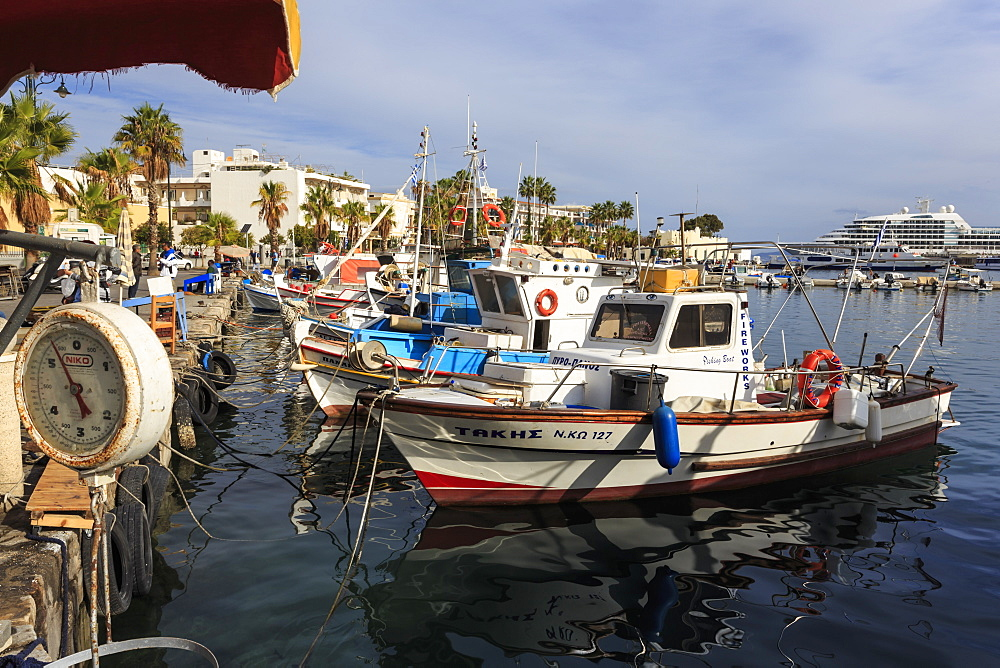 Fishing boats and cruise ship, harbour, Kos Town, Kos, Dodecanese, Greek Islands, Greece, Europe