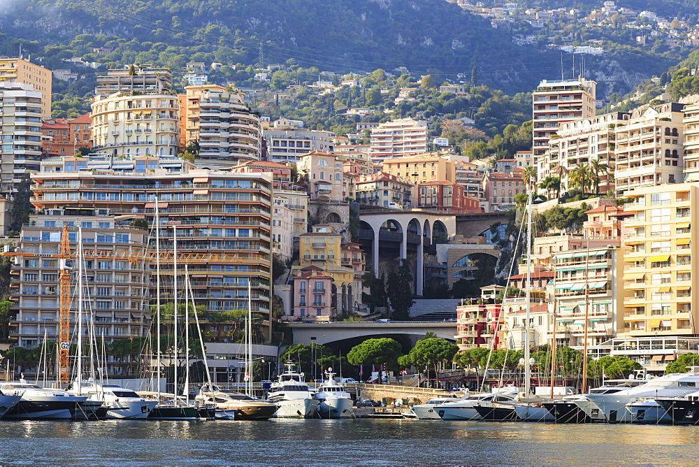 Pastel hues of the glamorous harbour of Monaco (Port Hercules) with many yachts, wooded hill side, Monte Carlo, Monaco, Cote d'Azur, Mediterranean, Europe