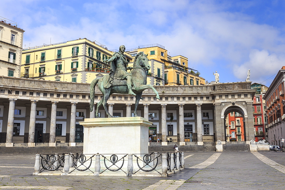 Equestrian statue of Charles III by Canova, Piazza del Plebiscito, City of Naples, Campania, Italy, Europe