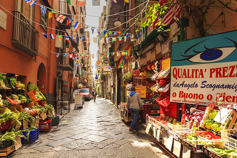 Alley in the densely populated Spanish Quarter (Quartieri Spagnoli), City of Naples, Italy - 1167-1363