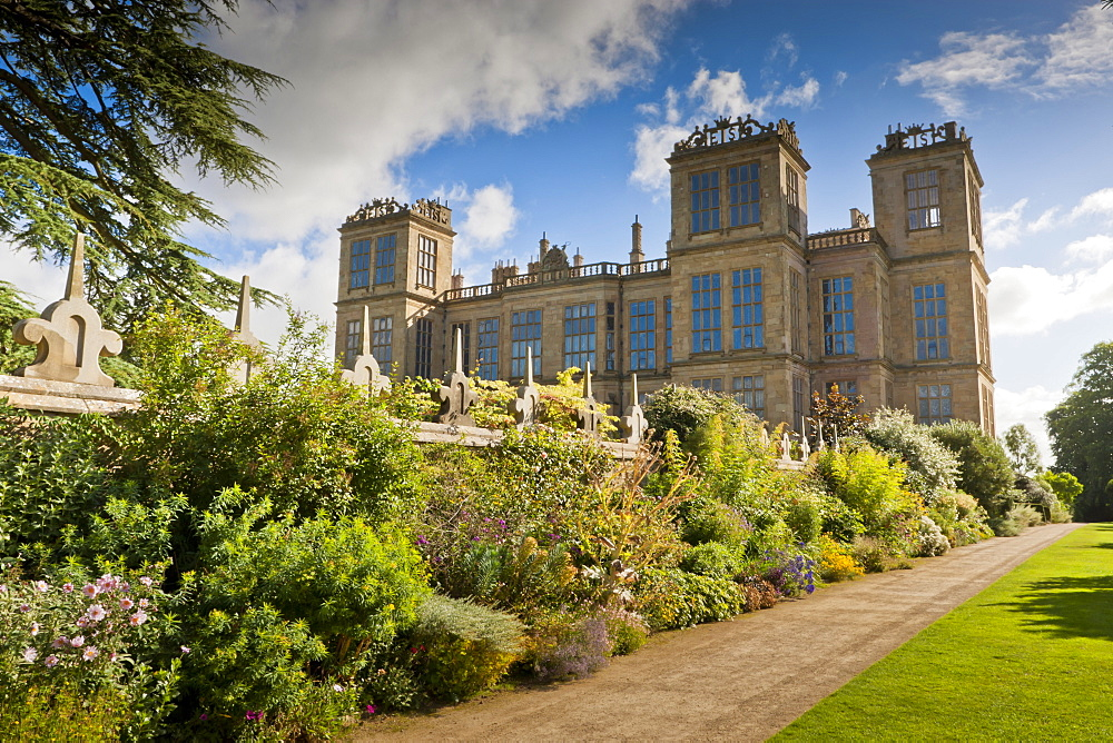 Perennial border in late summer, Hardwick Hall, near Chesterfield, Derbyshire, England, United Kingdom, Europe