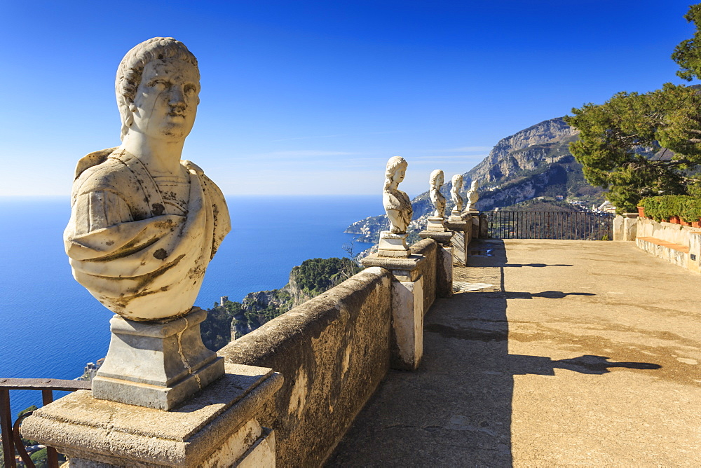 Stock photo of the Terrace of Infinity, Gardens of Villa Cimbrone, Ravello, Amalfi Coast