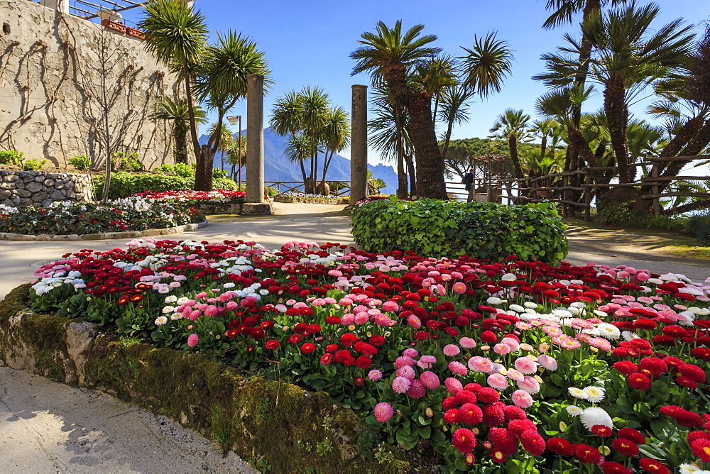 Stunning Gardens of Villa Rufolo in spring, Ravello, Amalfi Coast, UNESCO World Heritage Site, Campania, Italy, Europe