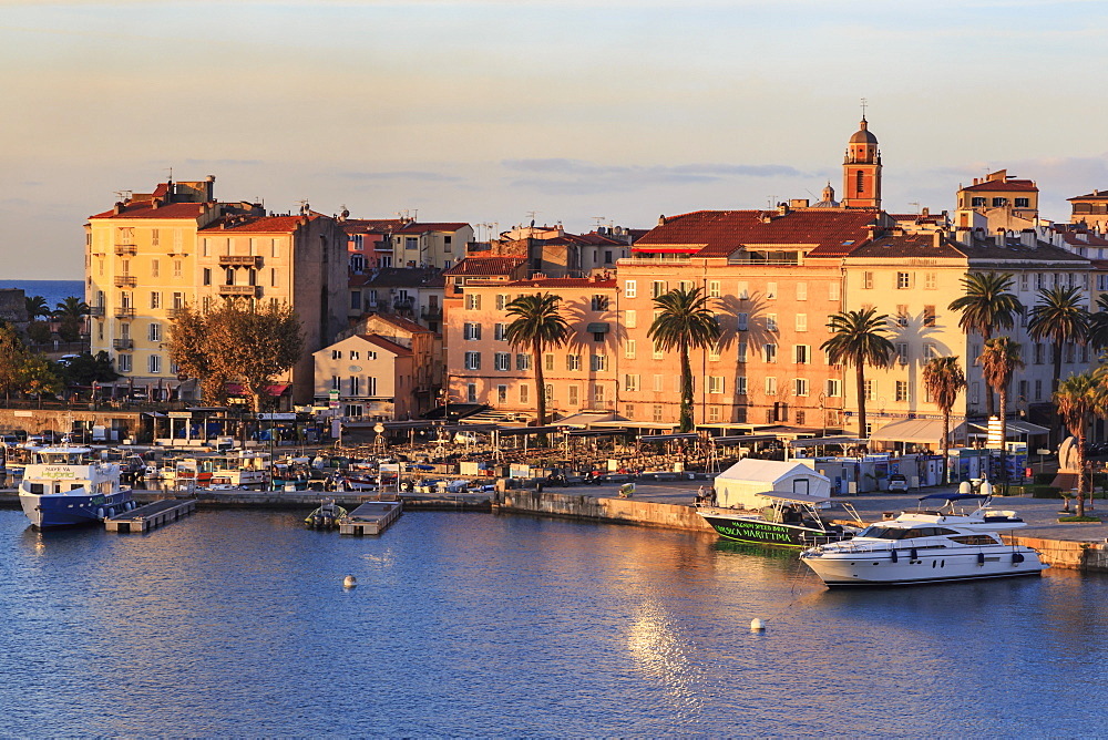 Ajaccio waterfront at sunrise, from the sea, Island of Corsica, Mediterranean, France, Mediterranean, Europe