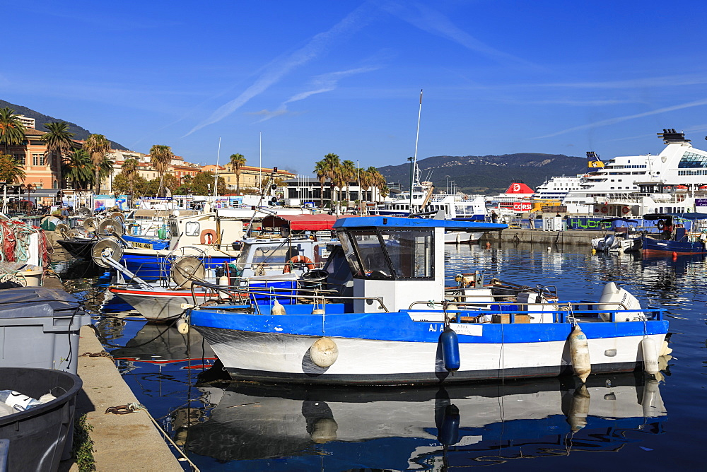 Old Port with fishing boats, cruise ship and ferries, view to distant mountains, Ajaccio, Island of Corsica, France, Mediterranean, Europe