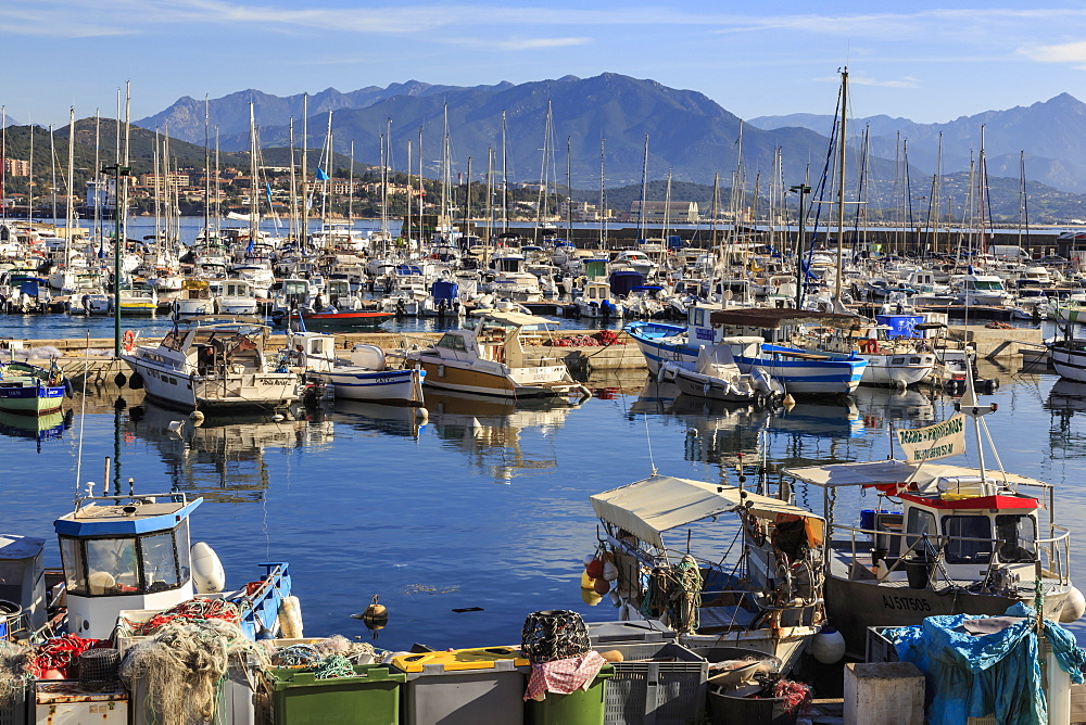 Old Port with fishing boats and yachts, view to distant mountains, Ajaccio, Island of Corsica, France, Mediterranean, Europe
