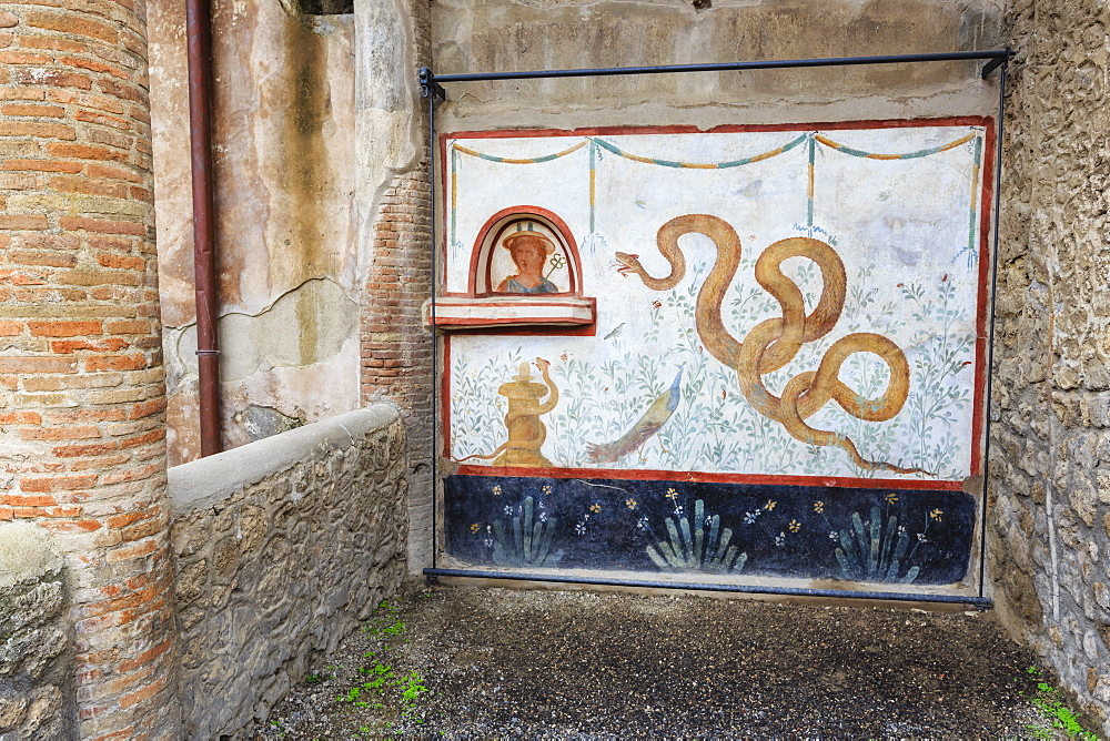 Fresco, Snake god Agathodaimon, Lararium, House of the Cryptoporticus, Pompeii, UNESCO World Heritage Site, Campania, Italy, Europe