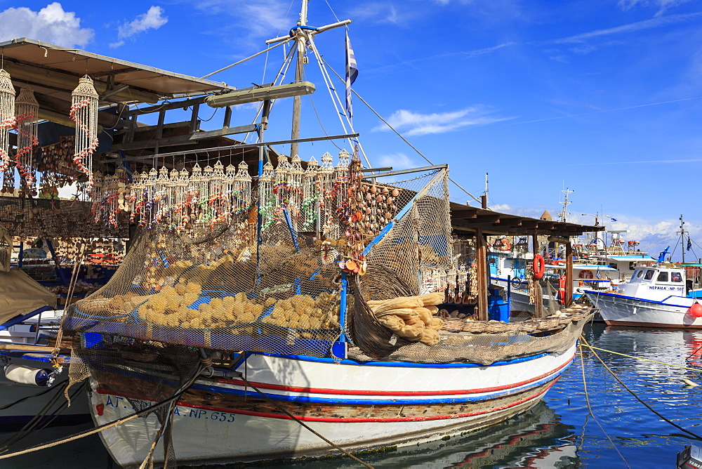 Fishing boats, Old Town harbour, Medieval Rhodes Town, UNESCO World Heritage Site, Rhodes, Dodecanese Islands, Greece
