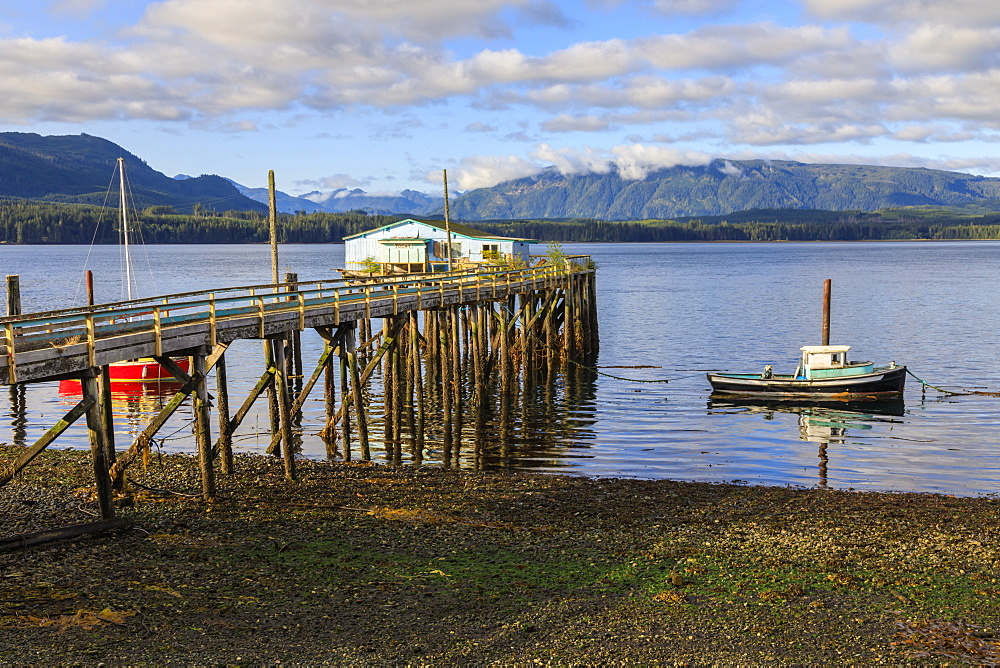 Alert Bay, boats, old dock building and jetty on piles, Vancouver Island Inside Passage, British Columbia, Canada