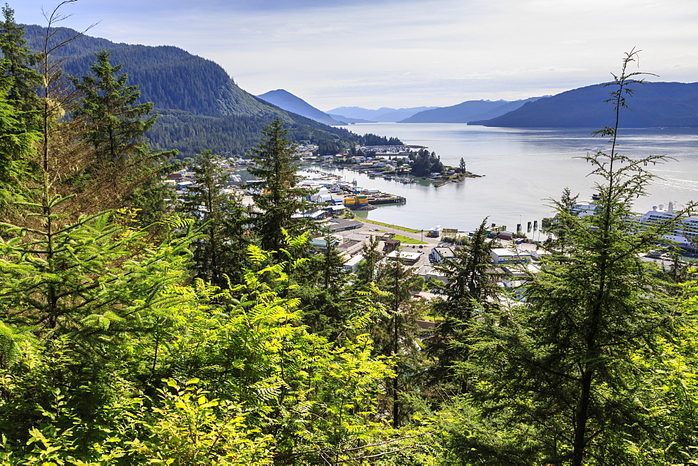 Stunning view, Wrangell and landscape from Mount Dewey trail lookout, Wrangell, pioneer port and fishing community, Alaska, USA