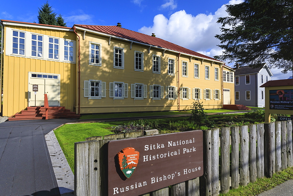 Russian Bishop's House, built 1843 in Sitka spruce, Sitka National Historical Park sign, rare sunny day, Southeast Alaska, USA