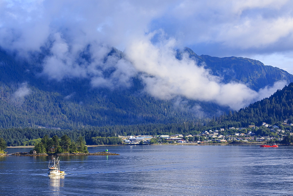 Fishing boat, clearing morning mists, Sitka Sound, Sitka, Northern Panhandle, Southeast Alaska, USA