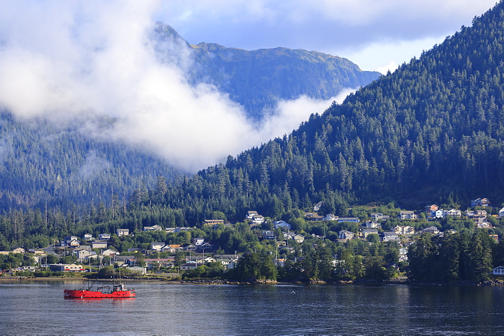 Clearing morning mists, Sitka Sound, Sitka, Northern Panhandle, Southeast Alaska, USA