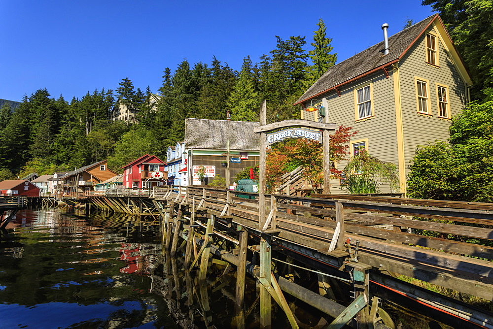 Creek Street, Ketchikan Creek boardwalk, historic red-light district, beautiful sunny summer afternoon, Ketchikan, Alaska, United States of America, North America