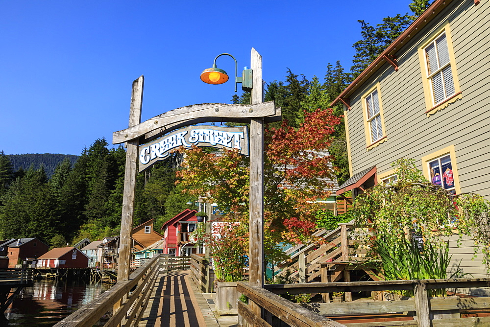 Creek Street, Ketchikan Creek boardwalk, historic red-light district, beautiful early autumn colours, Ketchikan, Alaska, United States of America, North America