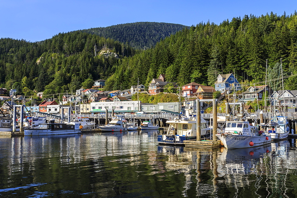 Commercial fishing boats, town and forest, beautiful sunny summer day, Ketchikan waterfront, Southern Panhandle, Alaska, United States of America, North America