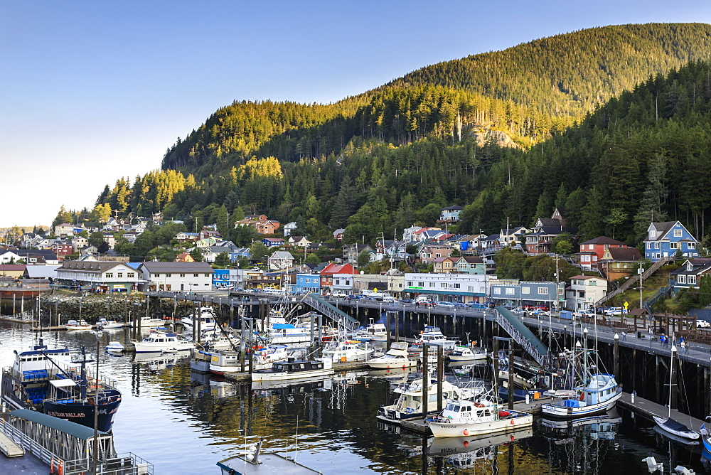 Sunrise over the harbour, town and forests, beautiful summer morning, Ketchikan, Southern Panhandle, Southeast Alaska, United States of America, North America