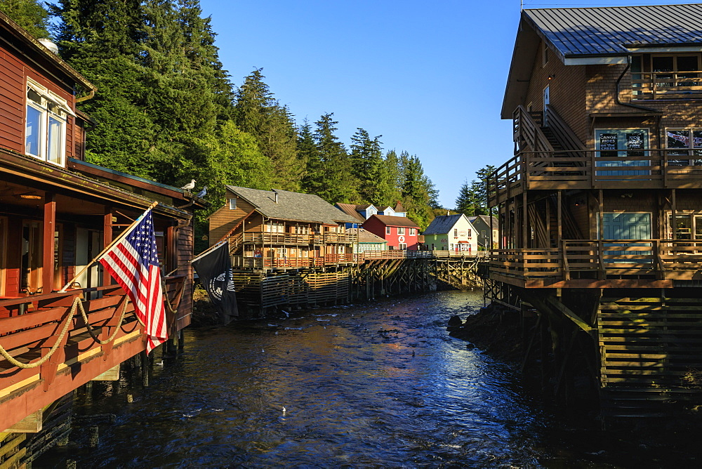 Creek Street, Ketchikan Creek boardwalk, historic red-light district, beautiful sunny summer evening, Ketchikan, Alaska, United States of America, North America