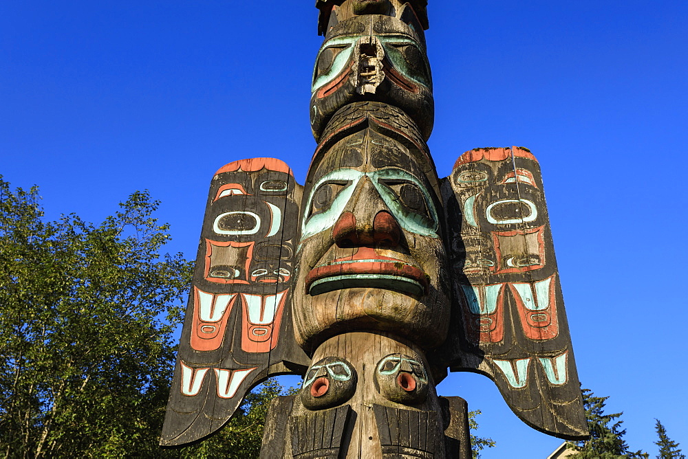 Chief Johnson Tlingit totem pole, beautiful sunny summer day, Ketchikan, Southern Panhandle, Southeast Alaska, United States of America, North America