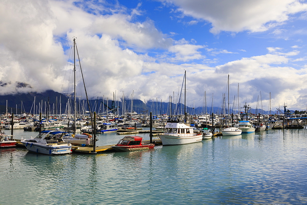Small Boat Harbour, small boats and mountains, Seward, Resurrection Bay, Kenai Peninsula, Alaska, United States of America, North America