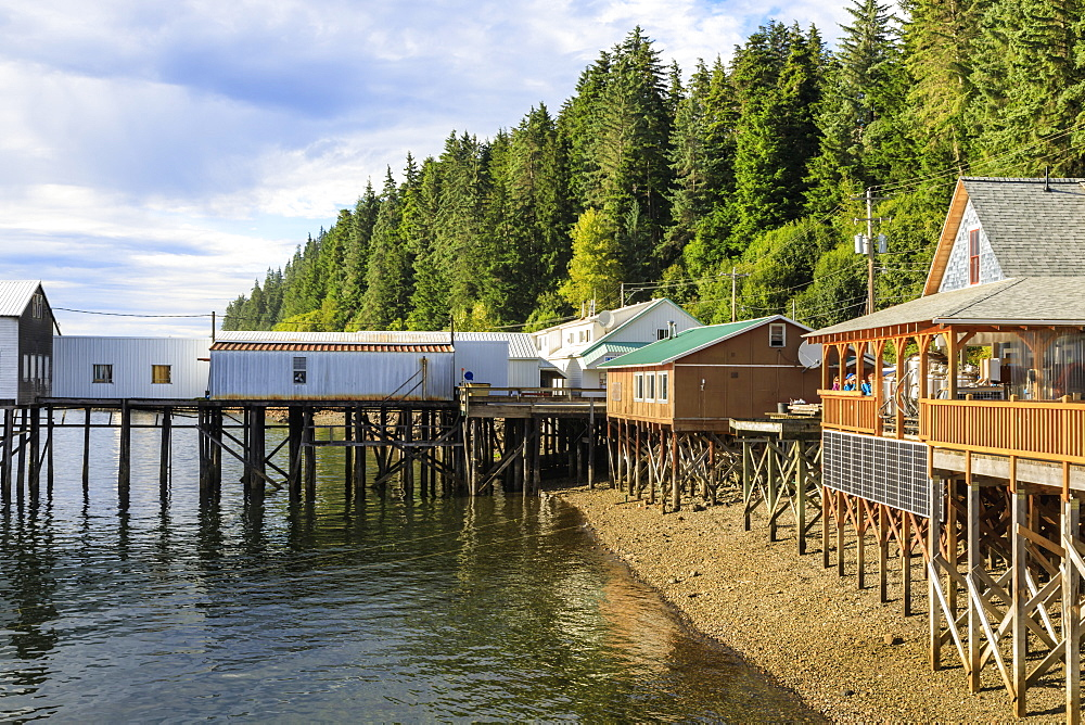 Hoonah, shoreline brewpub and dock, Tlingit Community, Icy Strait Point, Chichagof Island, Inside Passage, Southeast Alaska, USA