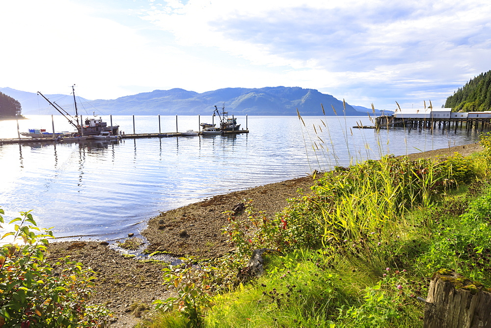 Hoonah, shoreline and dock, Tlingit Community, Summer, Icy Strait Point, Chichagof Island, Inside Passage, Southeast Alaska, USA