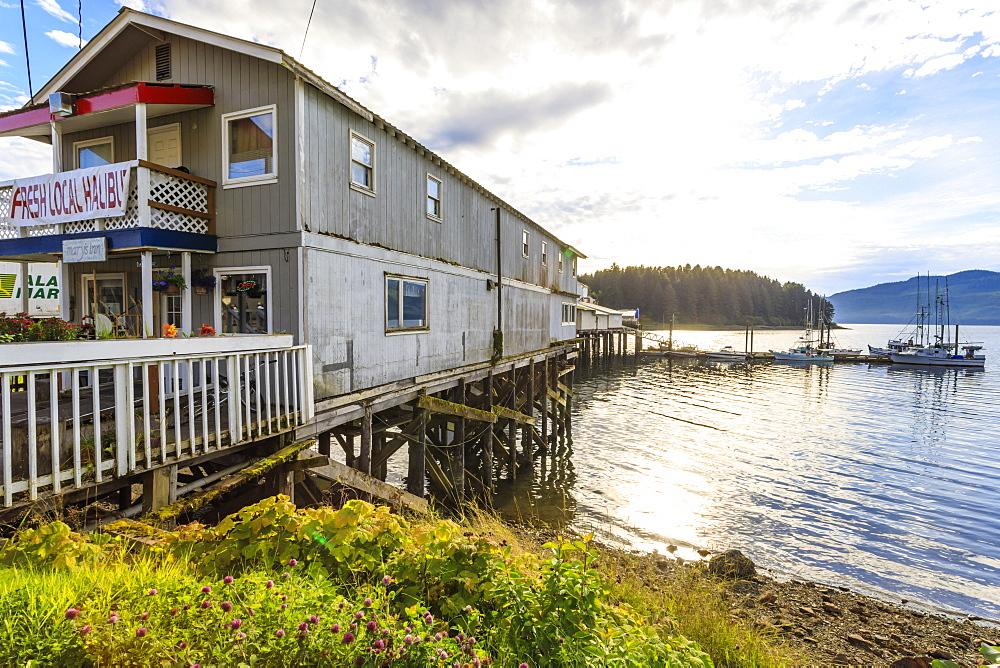 Hoonah, cafe selling fresh local halibut, Tlingit Community, Icy Strait Point, Chichagof Island, Inside Passage, Alaska, USA