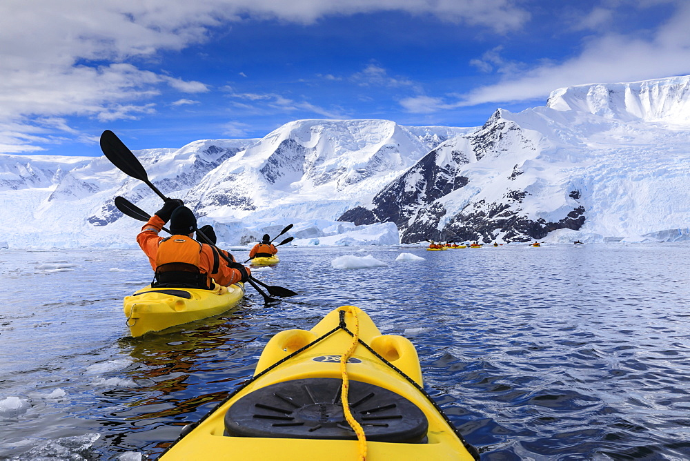 Kayaking amongst spectacular icebergs, mountains and glaciers, sunny Neko Harbour, Anvord Bay, Antarctic Peninsula, Antarctica, Polar Regions