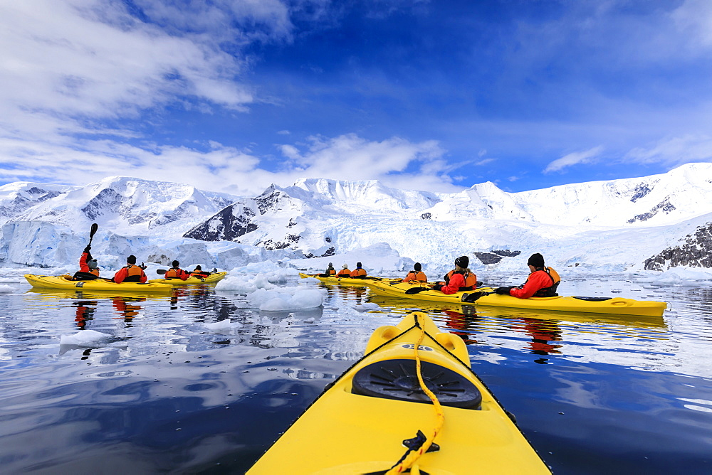 Kayaking amongst spectacular icebergs, mountains and glaciers, sunny Neko Harbour, Anvord Bay, Antarctic Peninsula, Antarctica