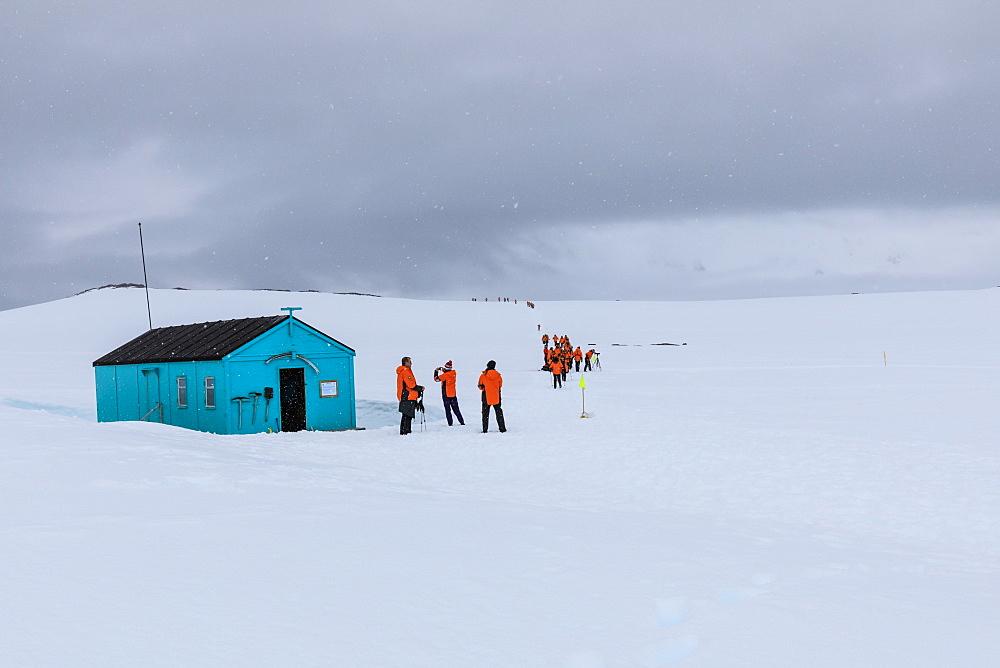Expedition ship visit, Damoy Hut, former British Air Transit Facility, Historic Monument, Dorian Bay, Wiencke Island, Antarctica, Polar Regions