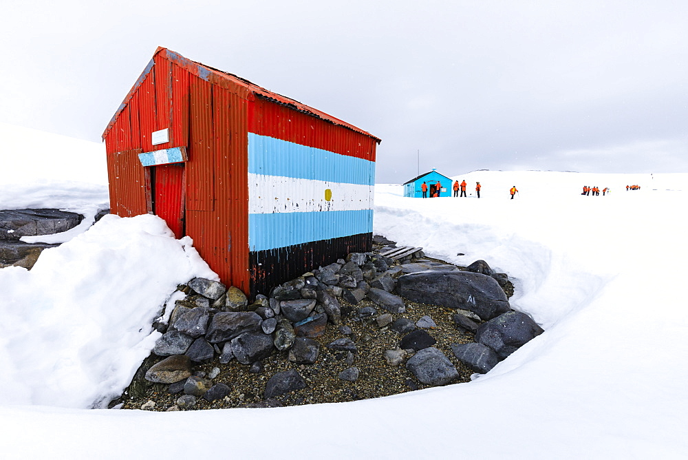 Expedition visit, British Historic Monument Damoy Hut and Bahia Dorian Argentine Refuge, Dorian Bay, Wiencke Island, Antarctica, Polar Regions