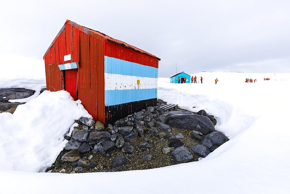 Expedition visit, British Historic Monument Damoy Hut and Bahia Dorian Argentine Refuge, Dorian Bay, Wiencke Island, Antarctica, Polar Regions