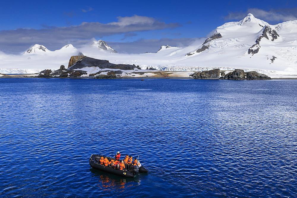 Zodiac boat, expedition tourists, landing beach, Half Moon Island, Livingston Island view, South Shetland Islands, Antarctica, Polar Regions - 1167-1779
