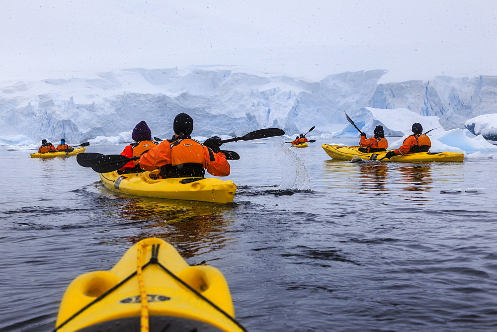 Expedition tourists kayaking in cold, snowy weather, with icebergs, Chilean Gonzalez Videla Station, Waterboat Point, Antarctica, Polar Regions - 1167-1795