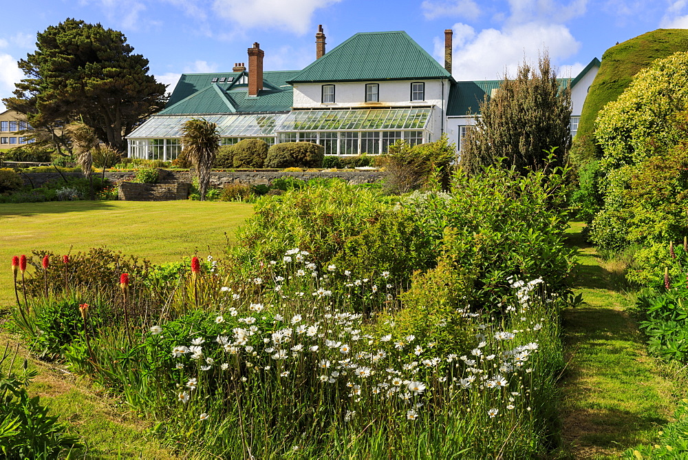 Government House, 1845, conservatory, green iron roof, beautiful grounds, blue sky, Stanley, Port Stanley, Falkland Islands, South America - 1167-1816