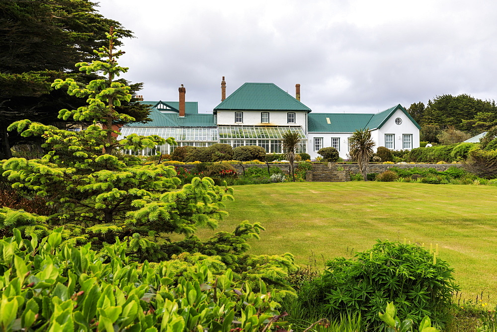 Government House, 1845, conservatory, green iron roof, beautiful grounds, Stanley, Port Stanley, Falkland Islands, South America