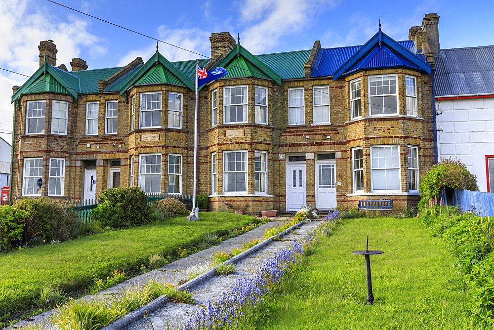 Historic Jubilee Villas, Victorian British terraced houses, Falklands flag, Stanley, Port Stanley, Falkland Islands, South America