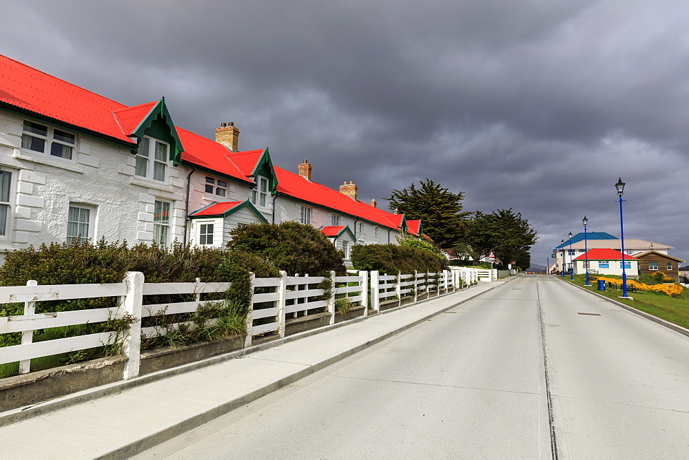 Historic Marmont Row, red roof, whitewashed, Victory Green, Stanley, Port Stanley, Falkland Islands, South America