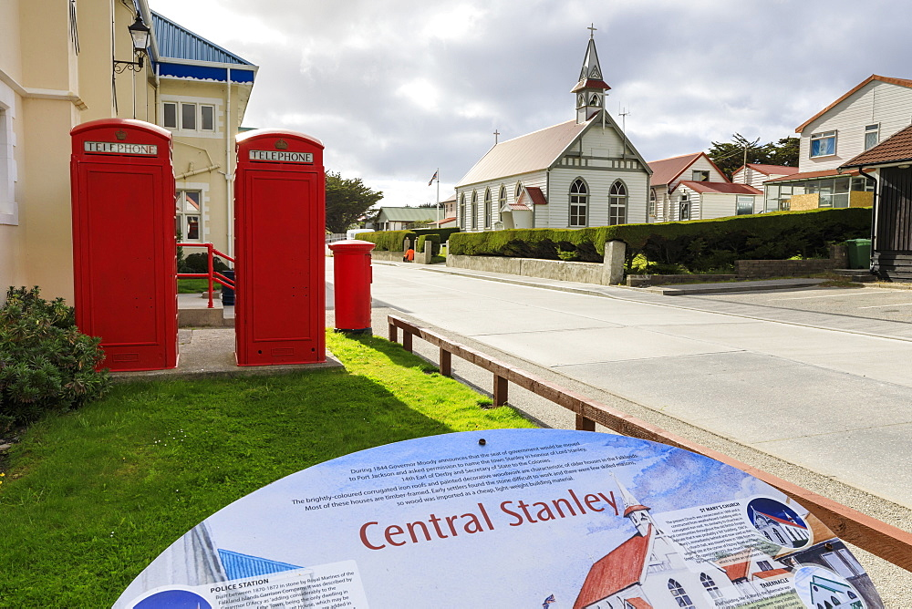 Central Stanley sign, Post Office, red telephone boxes and post box, traditional church, Port Stanley, Falkland Islands, South America