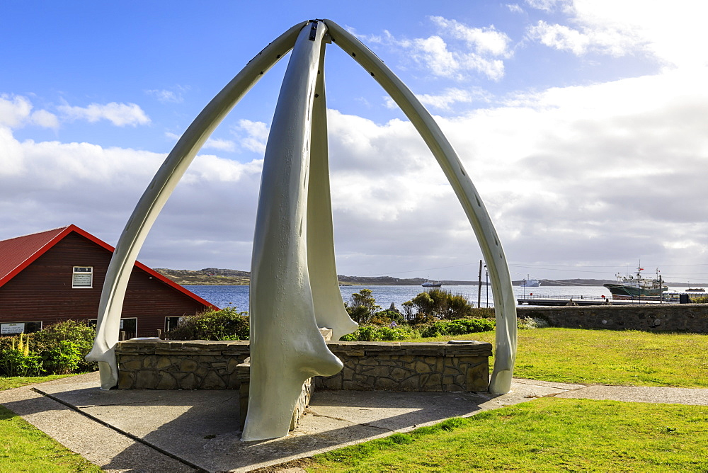 Restored Whalebone Arch, ships and the Narrows waterfront, Stanley Harbour, Port Stanley, Falkland Islands, South America - 1167-1829