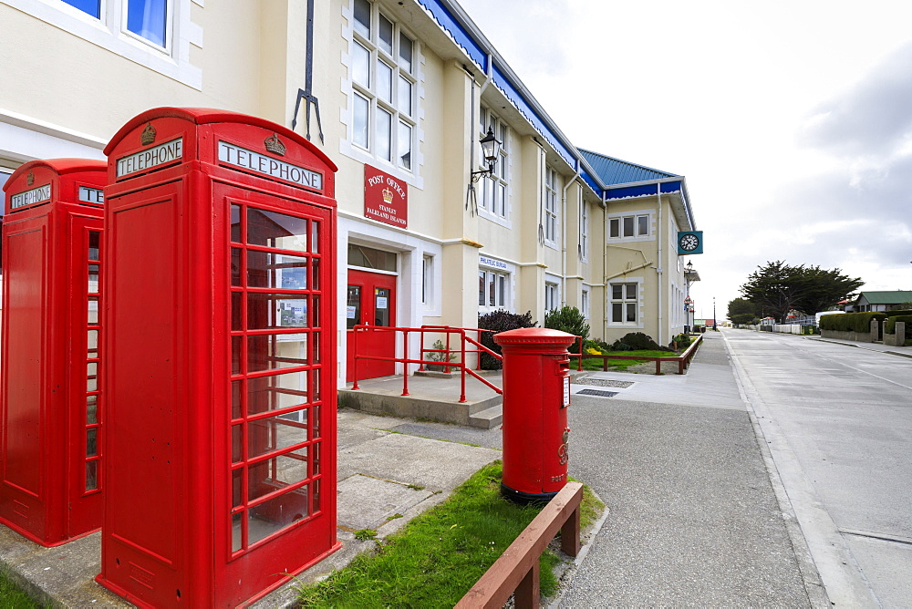 Post Office, Philatelic Bureau, red telephone boxes and post box, Central Stanley, Port Stanley, Falkland Islands, South America