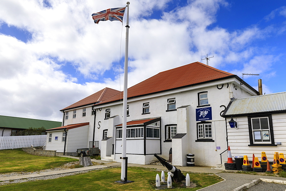 Historic Police Station Headquarters, British Flag, Central Stanley, Port Stanley, Falkland Islands, South America - 1167-1832