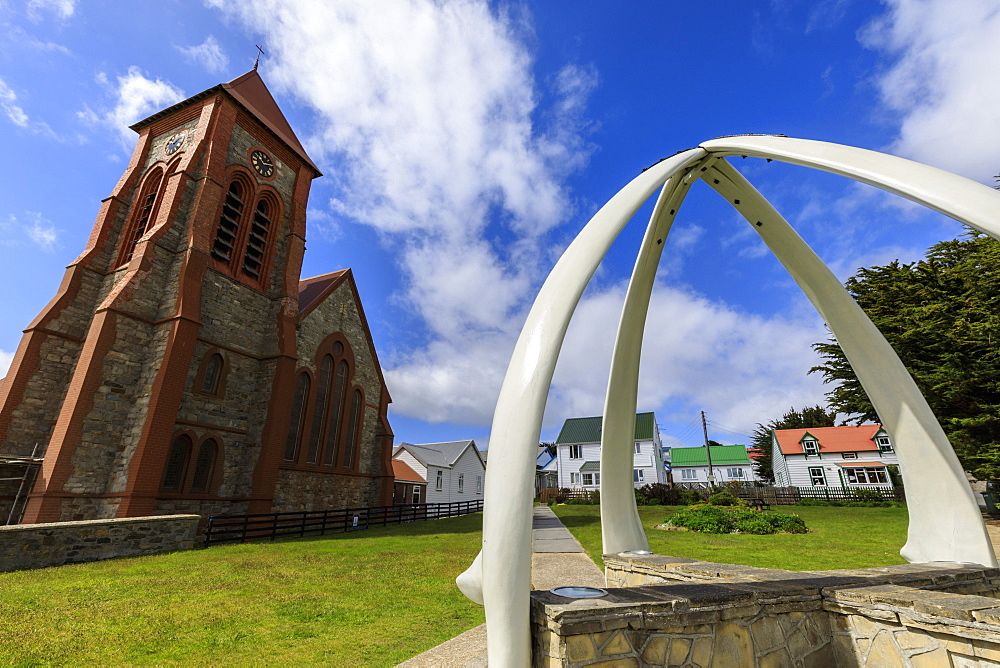 Christ Church Cathedral, restored Whalebone Arch, traditional houses, Stanley, Port Stanley, Falkland Islands, South America