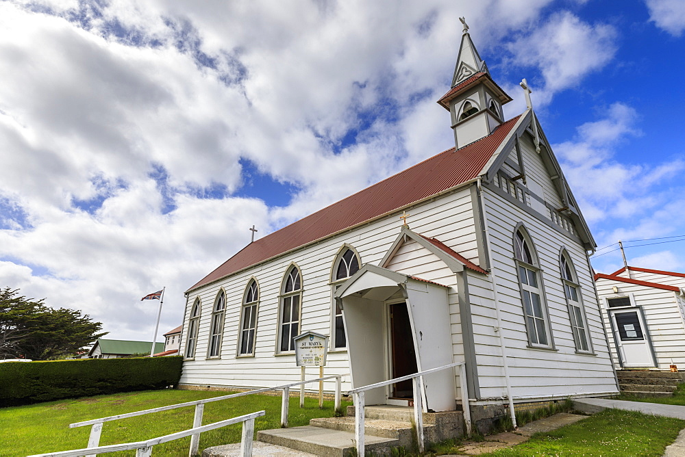 Traditional white wooden church, British Flag, Central Stanley, Port Stanley, Falkland Islands, South America - 1167-1837