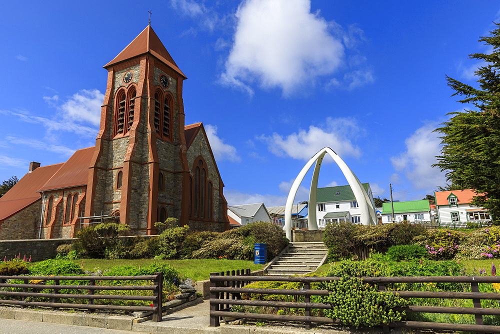 Christ Church Cathedral, restored Whalebone Arch, traditional houses, Stanley, Port Stanley, Falkland Islands, South America - 1167-1838