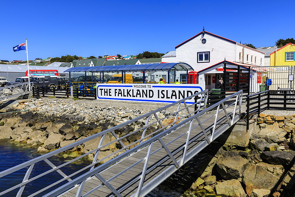 Welcome to The Falkland Islands sign, Stanley Harbour, Port Stanley, Falkland Islands, South America